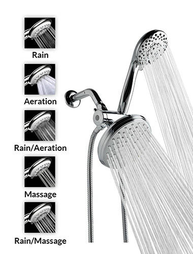 A FlowTM 5 Function Luxury Dual Shower Head System 2