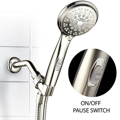 HotelSpa 9 Setting Luxury Brushed Nickel Hand Shower With Patented On Off Pause Switch Best