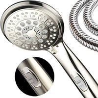 HotelSpa 9 Setting Luxury Brushed Nickel Hand Shower With Patented On Off Pause Switch