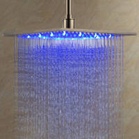 LightInTheBox 12 Inch Wall Mount Square Rainfall LED Shower Head Stainless Steel