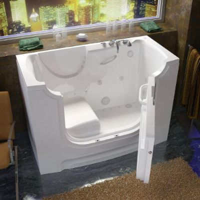 Venzi Bathing White Whirlpool And Air Jetted Wheelchair Accessible Walk In Bathtub