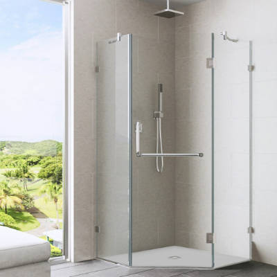vigo piedmont frameless neo angle shower enclosure with clear glass and chrome hardware