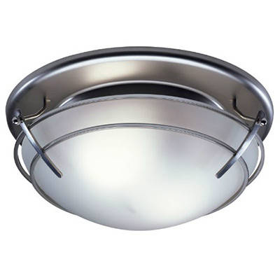 Broan 757SN Bathroom Ceiling Fan Light With Frosted Glass Shade Satin Nickel Finish