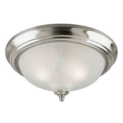 Westinghouse 6430600 Three Light Flush Mount Interior Ceiling Fixture Brushed Nickel Finish With Frosted Swirl Glass