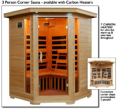 3 Person Sauna Corner Fitting Infrared FIR FAR 7 Carbon Heaters