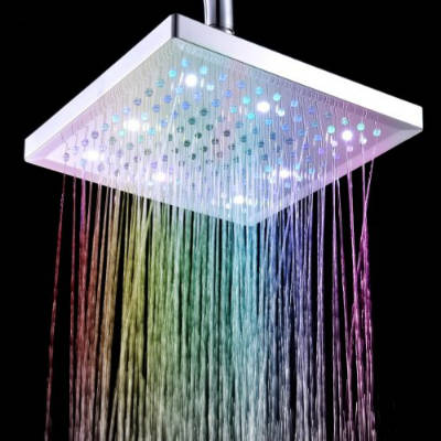 Docooler 8 Inch Square 7 Colors Changing LED Shower Head