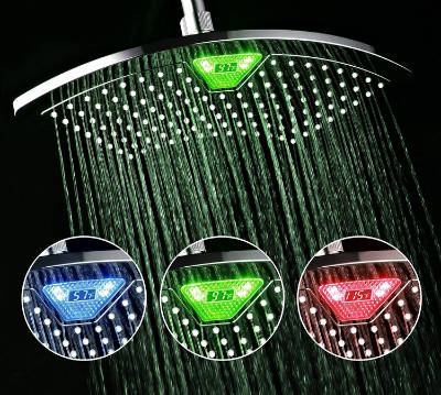 DreamSpa 12 Inch Rainfall LED Shower Head With Temperature Display