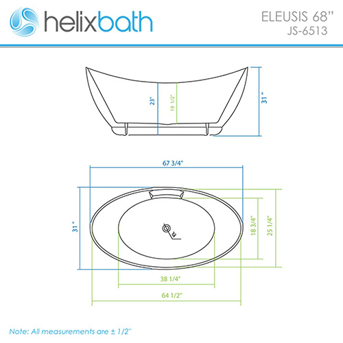 HelixBath Eleusis Freestanding Acrylic Bathtub Measures