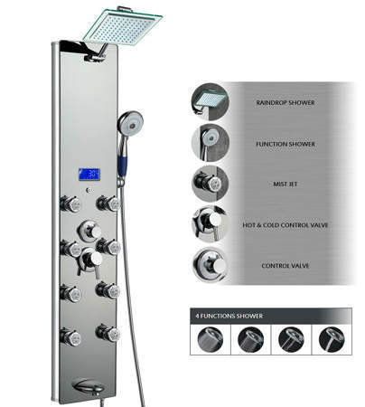 AKDY 52 Inch Tempered Glass Aluminum Shower Panel Az787392M Rain Style Massage System